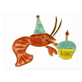 Birthday Crawfish Cupcake Postcard