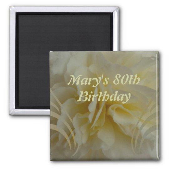Birthday Cream Floral Swirls Sticker Magnet