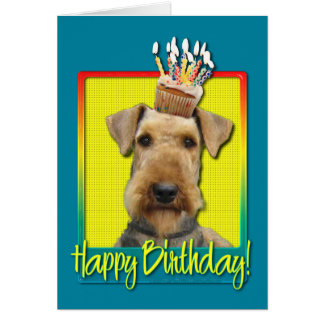 Birthday Cupcake Airedale Card