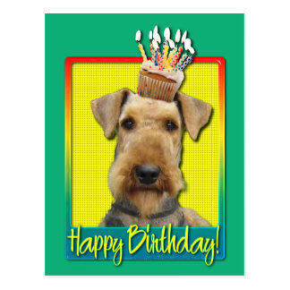Birthday Cupcake Airedale Postcard