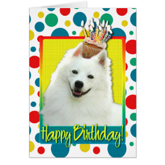 Birthday Cupcake - American Eskimo Greeting Card