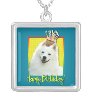 Birthday Cupcake - American Eskimo Silver Plated Necklace