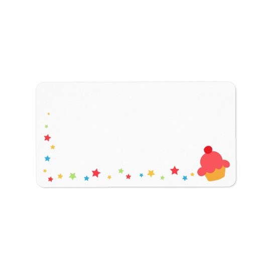 Birthday cupcake and colourful confetti stars address label
