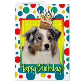 Birthday Cupcake - Australian Shepherd Card