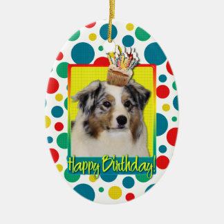 Birthday Cupcake - Australian Shepherd Christmas Tree Ornaments
