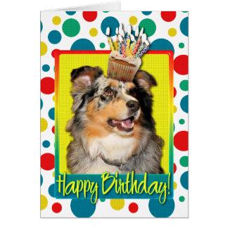Birthday Cupcake - Australian Shepherd - Dustine Card