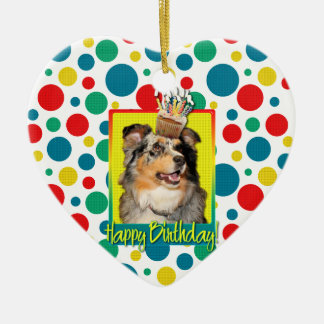 Birthday Cupcake - Australian Shepherd - Dustine Christmas Ornaments