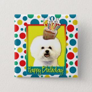 Birthday Cupcake - Bichon Frise 15 Cm Square Badge