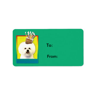 Birthday Cupcake - Bichon Frise Address Label
