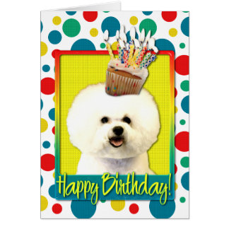 Birthday Cupcake - Bichon Frise Card