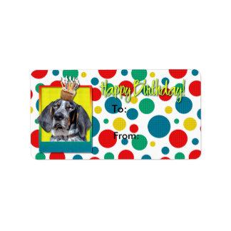 Birthday Cupcake - Bluetick Coonhound - Chuck Address Label
