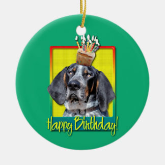 Birthday Cupcake - Bluetick Coonhound - Chuck Double-Sided Ceramic Round Christmas Ornament
