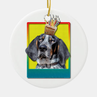Birthday Cupcake - Bluetick Coonhound - Chuck Christmas Tree Ornament