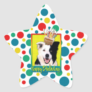 Birthday Cupcake - Border Collie Star Sticker
