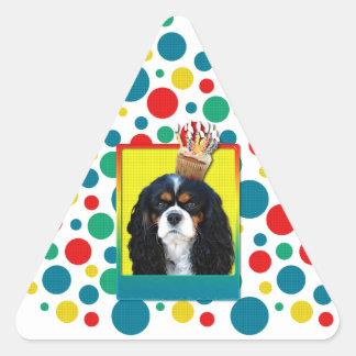 Birthday Cupcake - Cavalier - Tri-Color Triangle Sticker