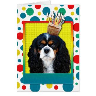 Birthday Cupcake - Cavalier - Tri-Colour Greeting Card