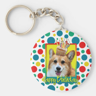 Birthday Cupcake - Corgi - Owen Key Ring