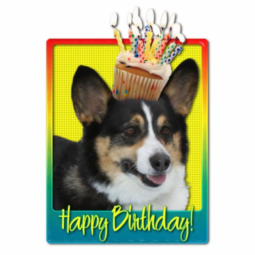 Birthday Cupcake - Corgi Photo Cutouts
