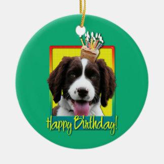 Birthday Cupcake -English Springer Spaniel -Baxter Round Ceramic Decoration