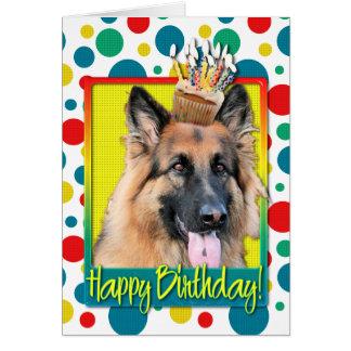 Birthday Cupcake - German Shepherd - Chance Greeting Card