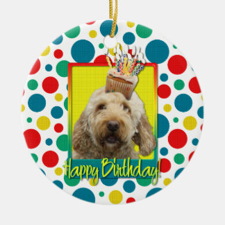 Birthday Cupcake - GoldenDoodle Christmas Ornament