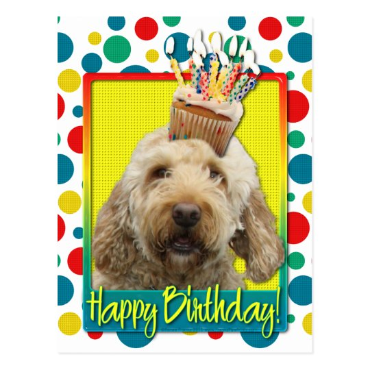 Birthday Cupcake - GoldenDoodle Postcard
