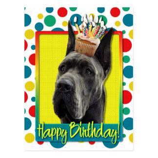 Birthday Cupcake - Great Dane - Grey Postcard
