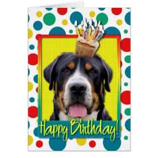 Birthday Cupcake - Greater Swiss Mountain Dog Greeting Card
