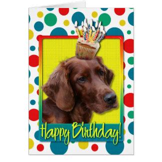 Birthday Cupcake - Irish Setter Card