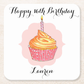 Birthday Cupcake Pink Personalized Square Paper Coaster