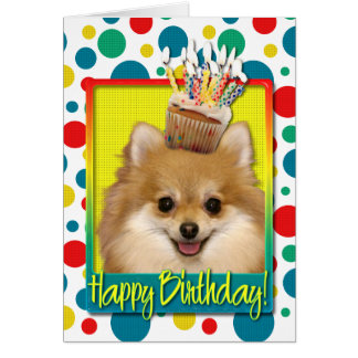 Birthday Cupcake - Pomeranian Card