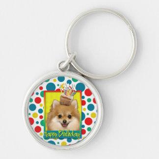 Birthday Cupcake - Pomeranian Silver-Colored Round Key Ring