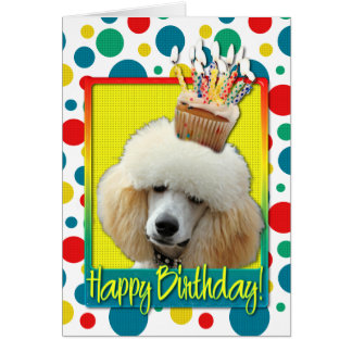 Birthday Cupcake - Poodle - Apricot Card