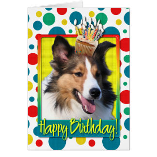 Birthday Cupcake - Sheltie Greeting Card