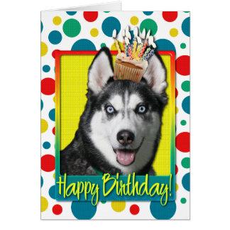 Birthday Cupcake - Siberian Husky Card