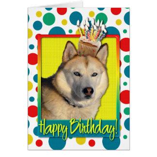 Birthday Cupcake - Siberian Husky - Copper Greeting Card