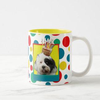 Birthday Cupcake - Tibetan Terrier Two-Tone Coffee Mug