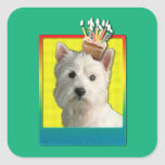 Birthday Cupcake - West Highland Terrier Square Stickers