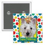 Birthday Cupcake - Westie - Tank 15 Cm Square Badge