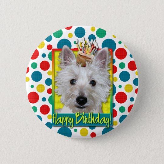 Birthday Cupcake - Westie - Tank 6 Cm Round Badge
