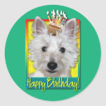 Birthday Cupcake - Westie - Tank Round Stickers