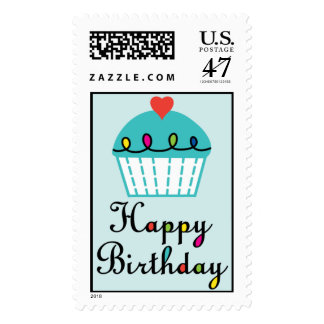 Birthday Cupcake with heart postage stamp