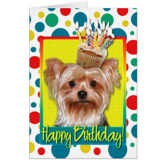 Birthday Cupcake - Yorkshire Terrier Card