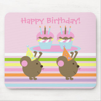 Birthday Cupcakes Party Mice Mousepad
