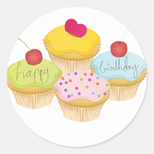 Birthday Cupcakes Round Sticker
