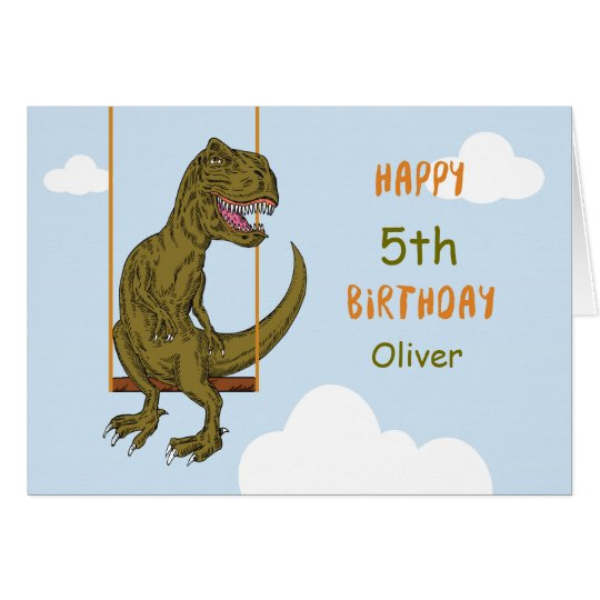 Birthday Custom Name, Age Personalised Dinosaur on Card