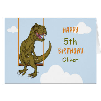 Birthday Custom Name, Age Personalized Dinosaur on Card