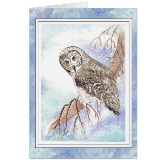 Birthday Custom Name with Great Grey Grey Owl Bird Card
