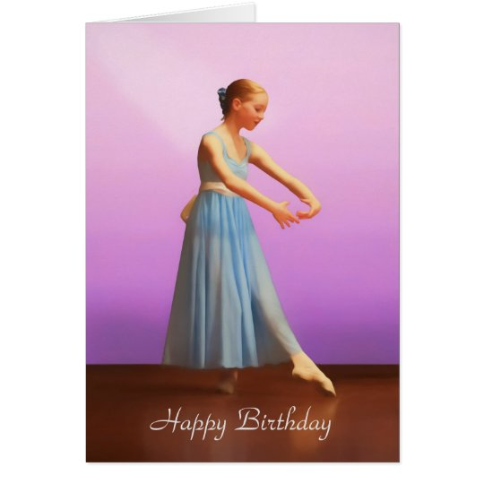 Birthday, Customisable, Ballerina in Blue Card