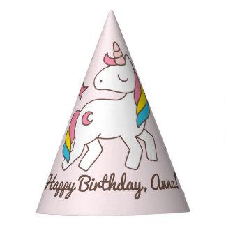 Birthday. Cute Unicorn with Cute Sparkle Diamonds Party Hat